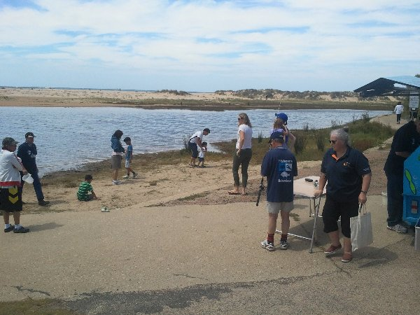 Fishcare educating at Lake Tyers Beach
